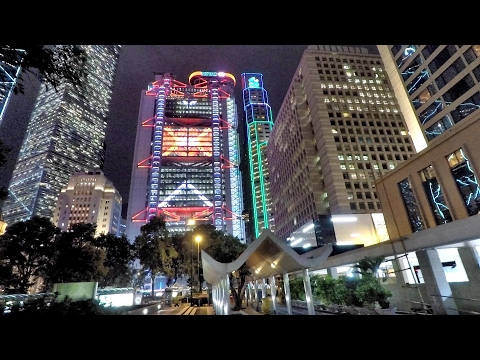 Hong Kong. A Night Walk Around Central District and its Amazing Buildings