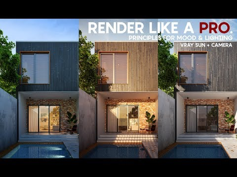 Render Like A Pro Exterior Rendering Tutorial Vray Sun Camera Tricks For Lighting And Mood Play