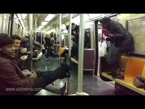 A fun ride in A train to Far Rockaway with a Rat. NYC Subway Nov, 2017 filmed by www.utcinema.com