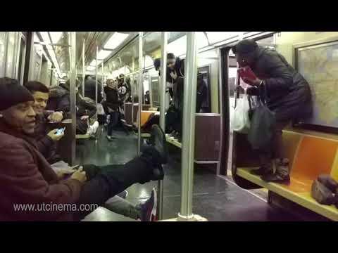 A fun ride in A train to Far Rockaway with a Rat. NYC Subway Nov, 2017 filmed by www.utcinema.com