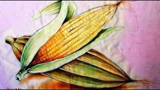 Pintando Espigas de Milho – Pintura em Tecido