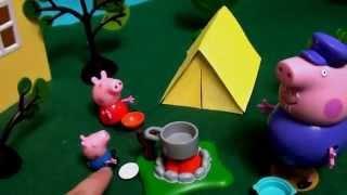 Мультфильм игрушками Свинка Пиги Pig Ночлег в палатке