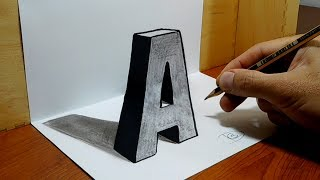 """3D Trick Art on Paper, Letter """"A"""" with Graphite Pencil"""