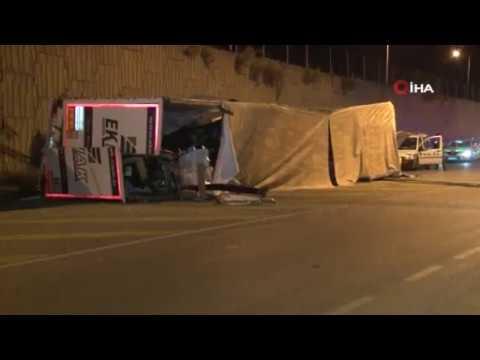 İzmir'de bariyerleri aşan TIR alt yola uçtu