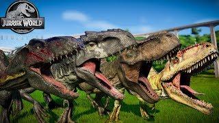 INDORAPTOR VS INDOMINUS REX VS T-REX VS GIGANOTOSAURUS - JURASSIC WORLD EVOLUTION
