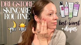 DRUGSTORE SKINCARE ROUTINE AM + PM // Best + Worst + DUPES