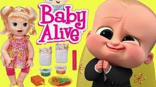 ✿БОСС МОЛОКОСОС В ДЕТСКОМ САДУ! ААА! Boss Baby ❤︎Куклы Пупсики Беби Элайв Baby Alive Видео для Детей
