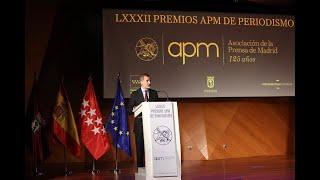 """Palabras de S.M. el Rey en el acto de entrega de los Premios """"APM"""" de Periodismo 2019 y 2020"""