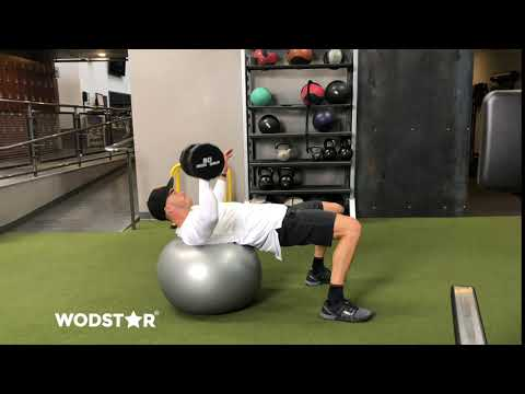 Single Arm Dumbbell Press on Stability Ball