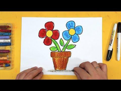 Как нарисовать ЦВЕТЫ на 8 МАРТА МАМЕ