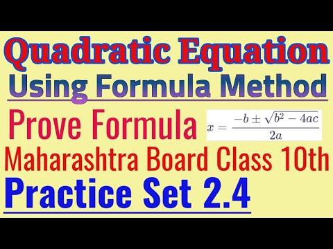 Quadratic Equation using Formula Method Class 10th
