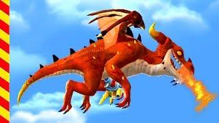 Дракон огнедышащий нападает на людей. Мультик про дракона для мальчиков. Динозавр для детей
