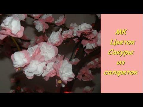 Цветок Сакуры. Украшаем веточки на 9 Мая.  Цветы из салфеток.