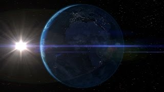 Motion graphics animation of the Earth spinning through day and night with the sun and stars behind.