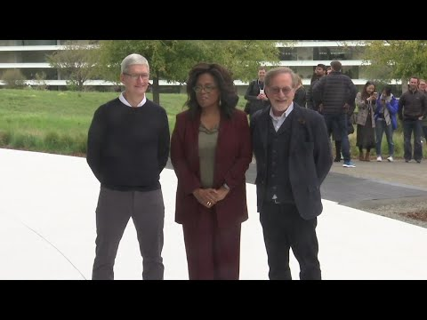 Apple announced its own TV and movie streaming service, enlisting superstars like Oprah Winfrey, Jennifer Aniston and Steven Spielberg to try to overcome its rivals' head start. (March 25)