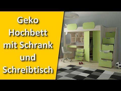 Geko Hochbett mit Schrank und Schreibtisch - Alles in einem Möbel Set für das Kinderzimmer