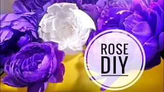 ROSE DIY/PAPER ROSE/CREPE PAPER DIY/Роза из бумаги/Мастер класс/Гофре