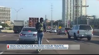 BEEP BEEP! Man caught on camera riding scooter on I-35 in Dallas