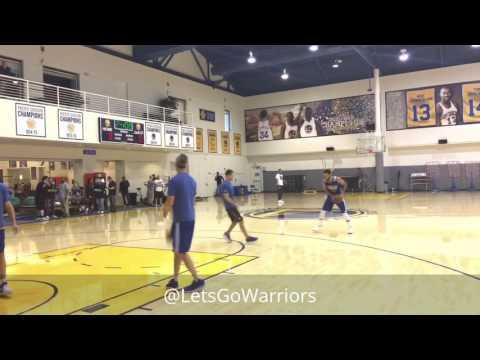 Stephen Curry shooting routine, dunk & walkaway kick; Warriors (0-0) practice, 6 days b4 NBA Finals