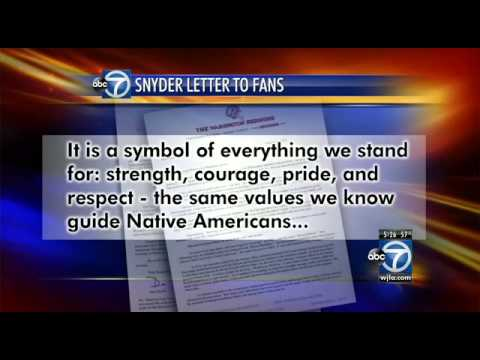 Redskins' owner Dan Snyder writes letter defending name