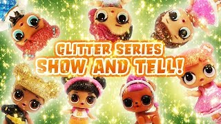 LOL Surprise Dolls Glitter Series Show and Tell Game! Featuring Queen Bee, Rocker, and Fancy!
