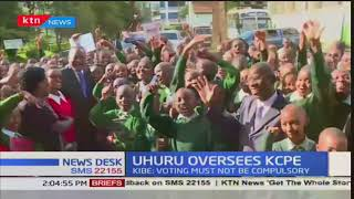 President Uhuru Kenyatta visits Westlands Primary accompanied by CS Fred Matiang'i to oversee KCPE