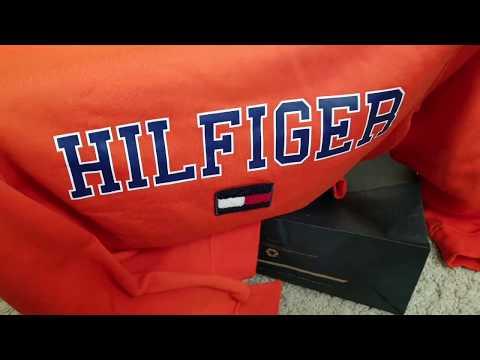 Tommy Hilfiger Men's Collegiate Orange Logo Crewneck Sweatshirt! 11 25 18
