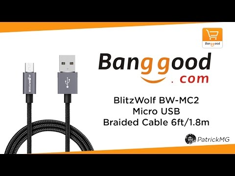 UNBOXING - BlitzWolf BW-MC2 Micro USB Braided Cable 6ft/1.8m (Banggood)
