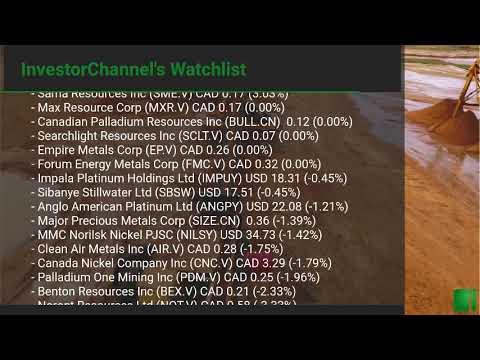 InvestorChannel's Palladium Watchlist Update for Wednesday, August, 04, 2021, 16:00 EST