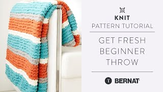 Beginner Knit Throw with Bernat Blanket Yarn