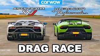 [carwow] Lamborghini Aventador SVJ vs Huracan Performante DRAG RACE