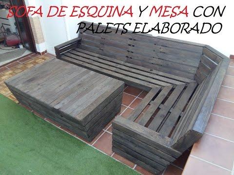 SOFA CON PALETS-SOFA DE ESQUINA Y MESA CON PALETS (cajones ocultos)