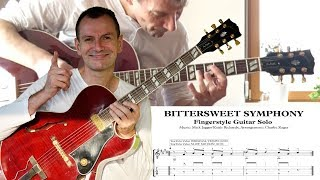 Bittersweet Symphony TAB TUTORIAL CLOSE UP ORIGINAL SPEED Fingerstyle Guitar Solo Arrangement