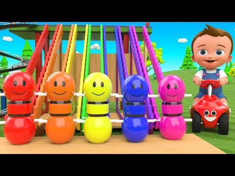 Bowling Pins Tumbling Toy Set Play 3D - Little Baby Fun Learning Colors for Children Kids Edu