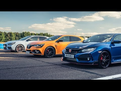 Honda Civic Type R vs Hyundai i30N vs Renault Megane RS Cup 280 | Top Gear: Drag Races
