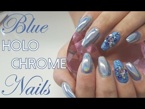 Holo Chrome Pigment Acrylic Nails #HOLOSEXUAL