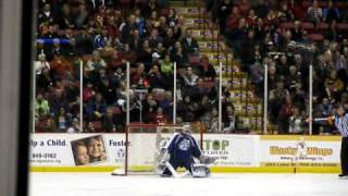 #9 soo greyhounds vs sudbury wolves hockey penalty shot Dec 30 2010