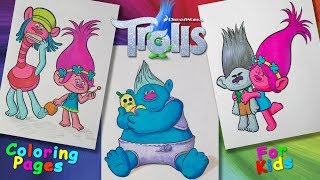 Trolls cartoon characters #ColoringPages #forKids #LearnColors and Draw with Trolls