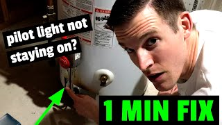 EASY FIX! Hot Water Heater Pilot Light Won't Stay Lit or On? How to fix waterheater in 1 minute