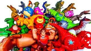 Box of Toys, Lots of Jurassic world dinosaurs, Marvel, Lion King, Super wings, Toy story