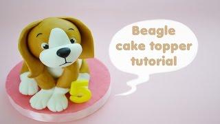 HOW TO  BEAGLE DOG CAKE TOPPER FONDANT - TUTORIAL CANE BEAGLE TORTA DECORATA IN PASTA DI ZUCCHERO