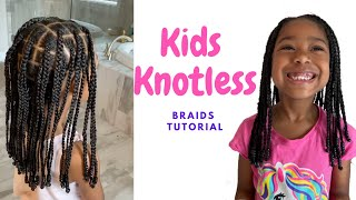 How To Do Kids Knotless Braids- Neat & Undetectable Tutorial