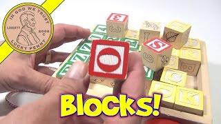 Melissa & Doug Classic ABC 123 Wooden Block Cart - 30 Baby Block Set