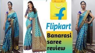 2148e5c516 *new* Flipkart Banarasi Saree Review Flipkart Saree Unboxing And Review  सुदंंर बनारसी साडी़