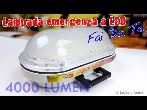 Lampada emergenza a led portatile FAI DA TE  4000 lumen - tartaglia channel