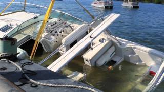 Sunken Boat Recovery: 43ft Cruiser in 150ft deep water