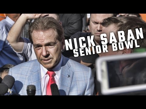 Nick Saban talks with the media at the Senior Bowl