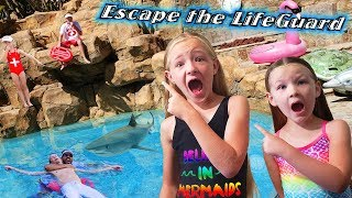 Escape the LifeGuard for 24 Hours! Dad Sinks & Shark in the Pool!