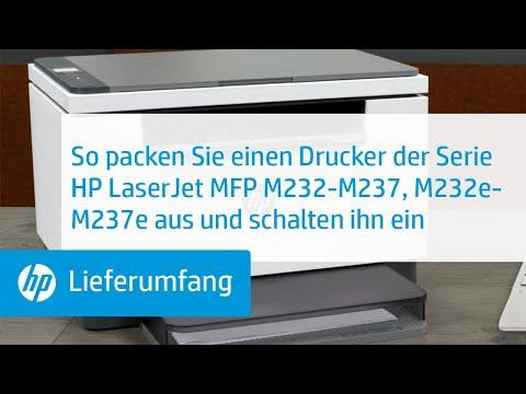 Auspacken und Einschalten der Druckerserie HP LaserJet MFP M232-M237, M232e-M237e | HP LaserJet | HP