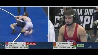NCAA 2019 Yani Diakomihalis vs Jayde Eierman and McKenna vs Nick Lee